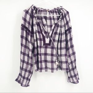 Free people Purple and white gingham tunic top